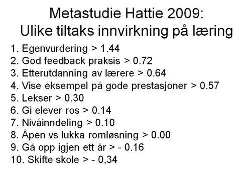 Hattie 2009